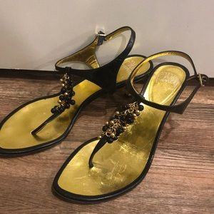 Will's Fancy black and gold beaded sandals